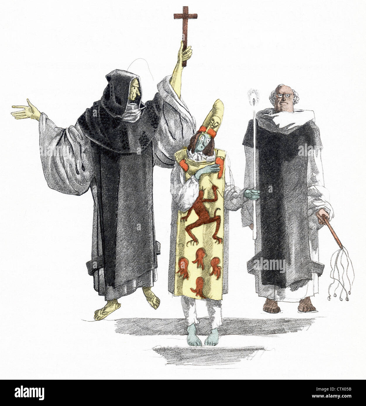 The novel figure Candide stands here as a heretic, with two clergymen, as part of Auto da Fe in Lisbon. - Stock Image