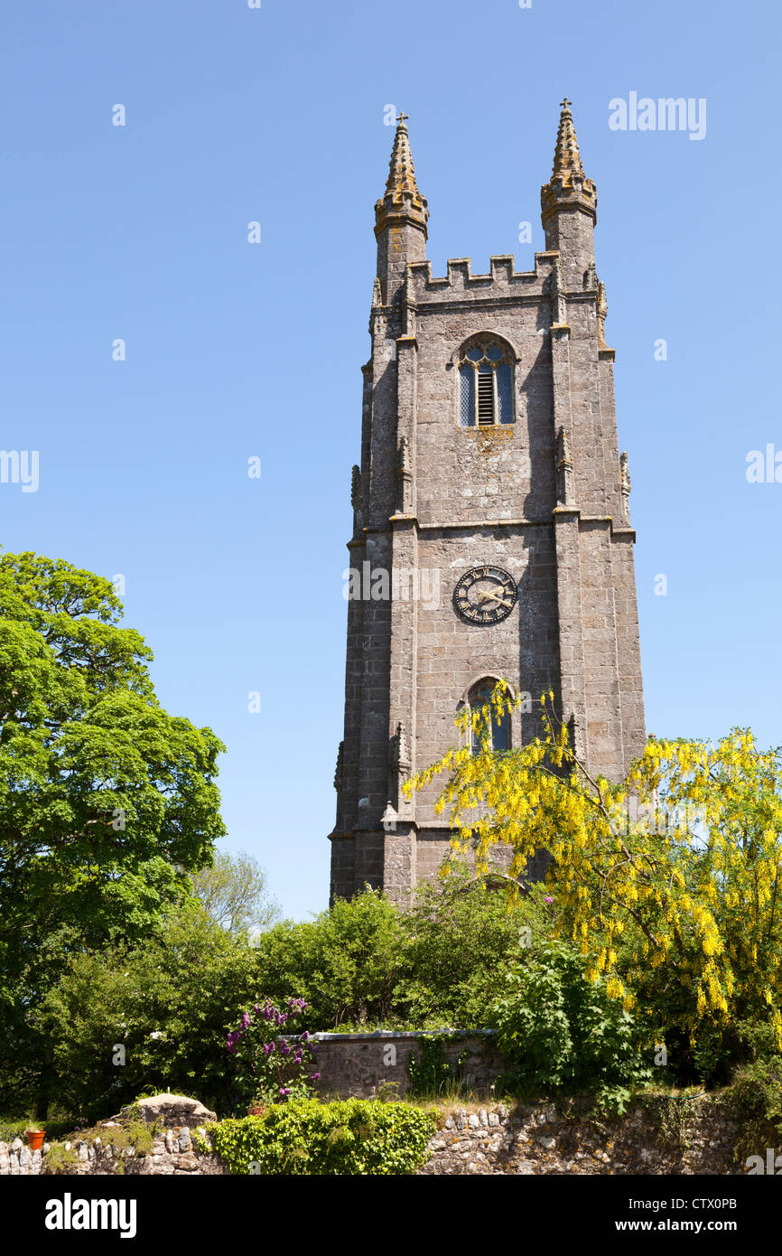 Substantial tower of St Pancras church at Widecombe in the Moor, Devon, UK. The village is known for the song 'Widecombe - Stock Image