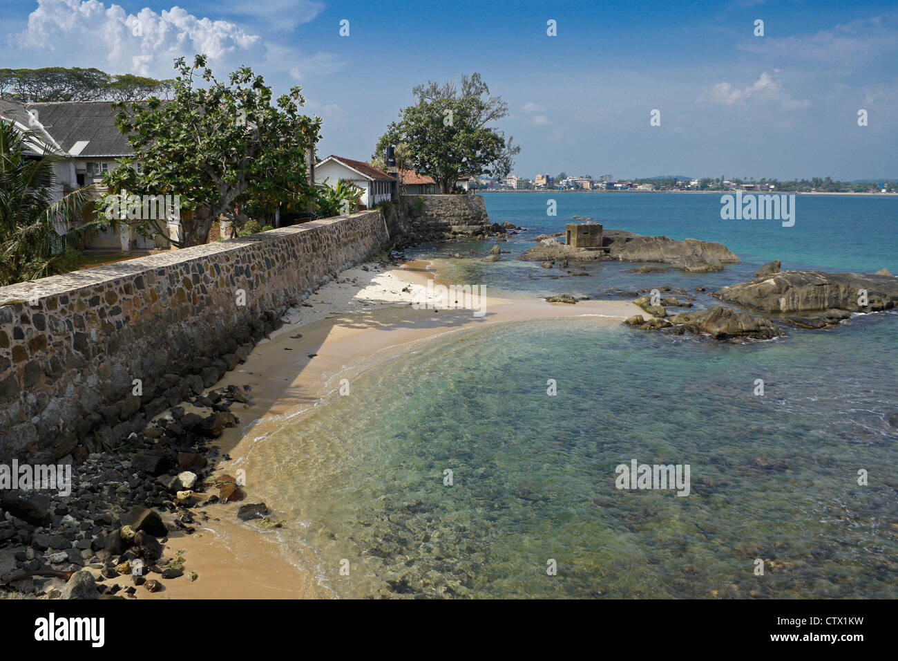 View from rampart of historic Galle Fort, Galle, Sri Lanka - Stock Image