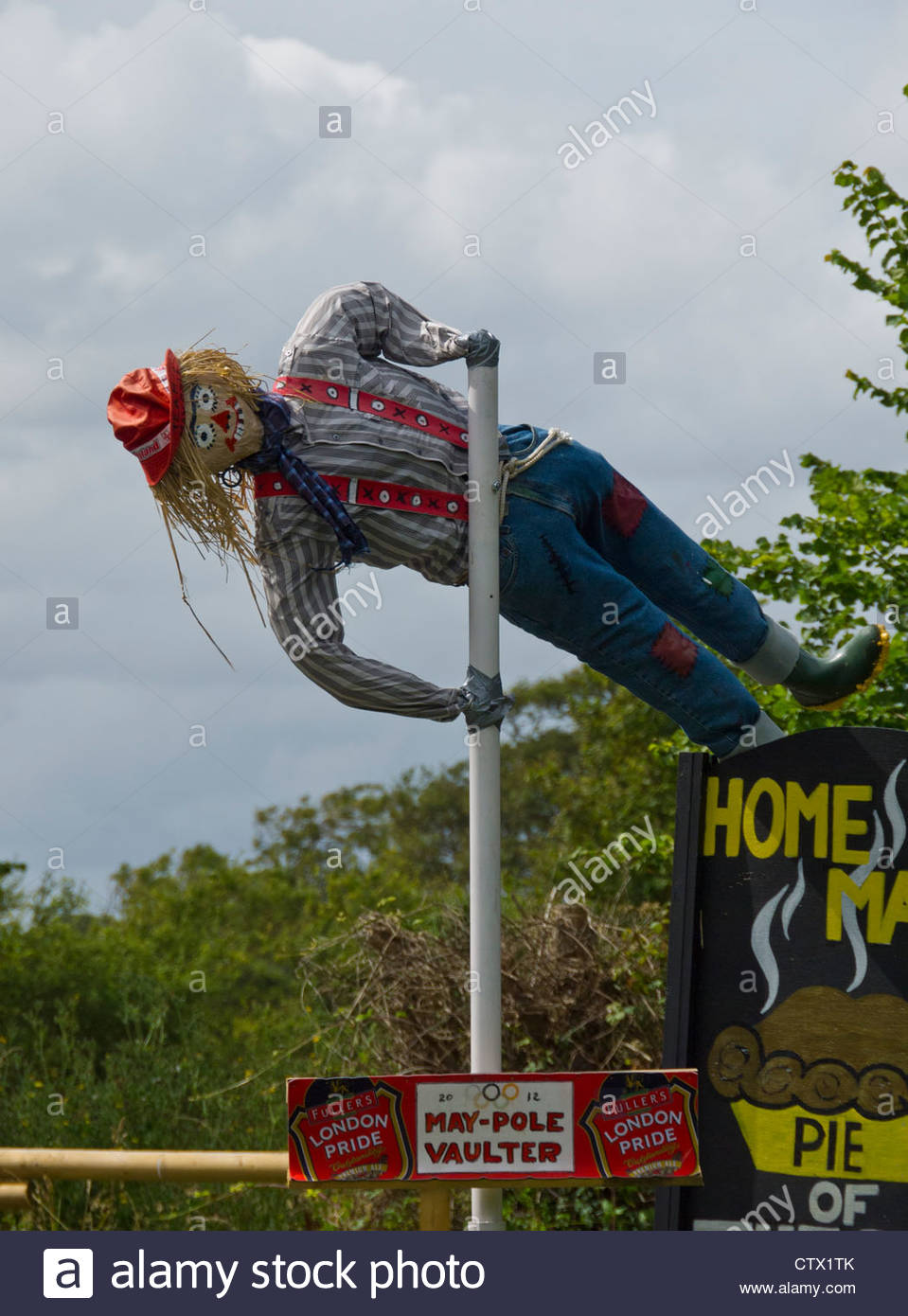 Pole Vaulter Scarecrow Week Hayling Island Hampshire England UK - Stock Image