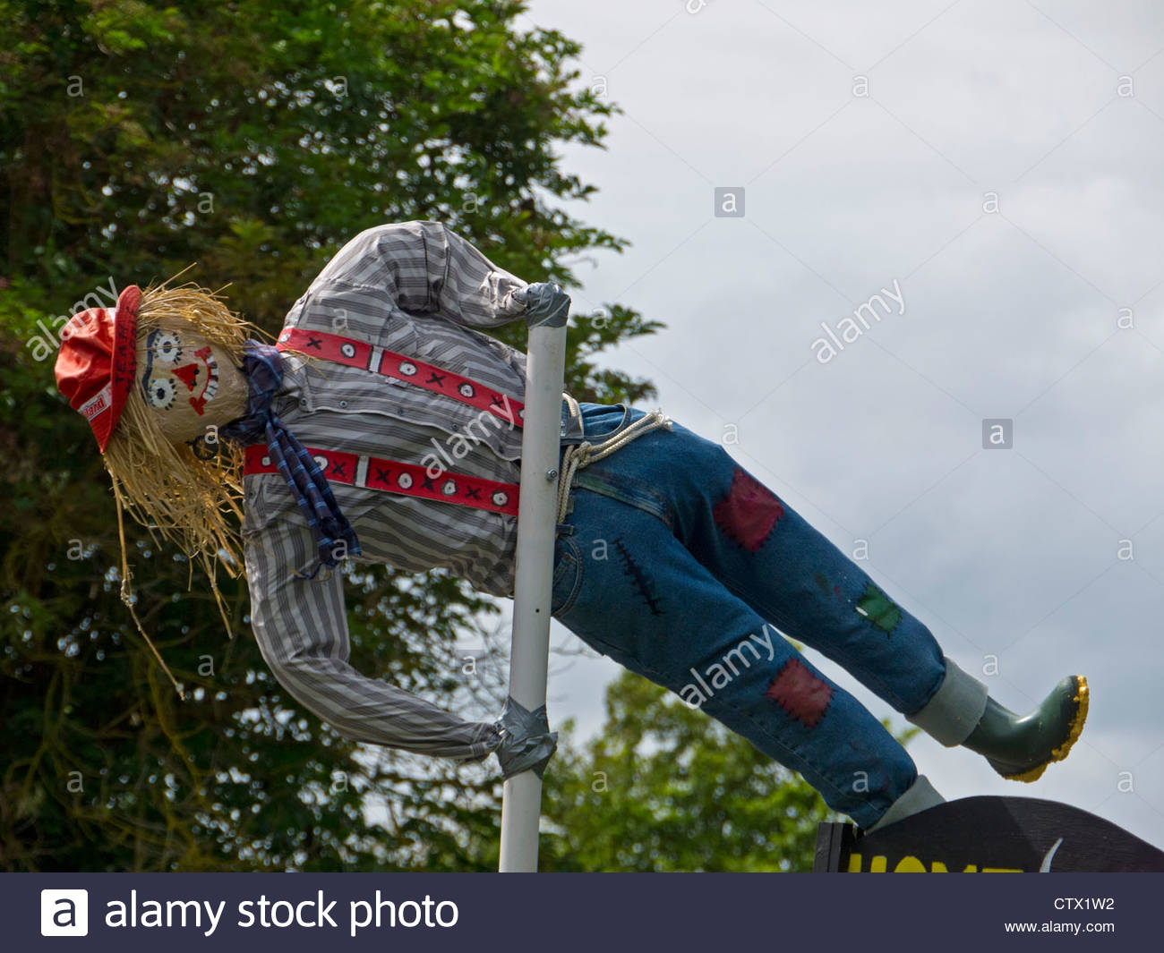 Pole Vaulter Scarecrow Week Hayling Island Hampshire England UK Close Up - Stock Image
