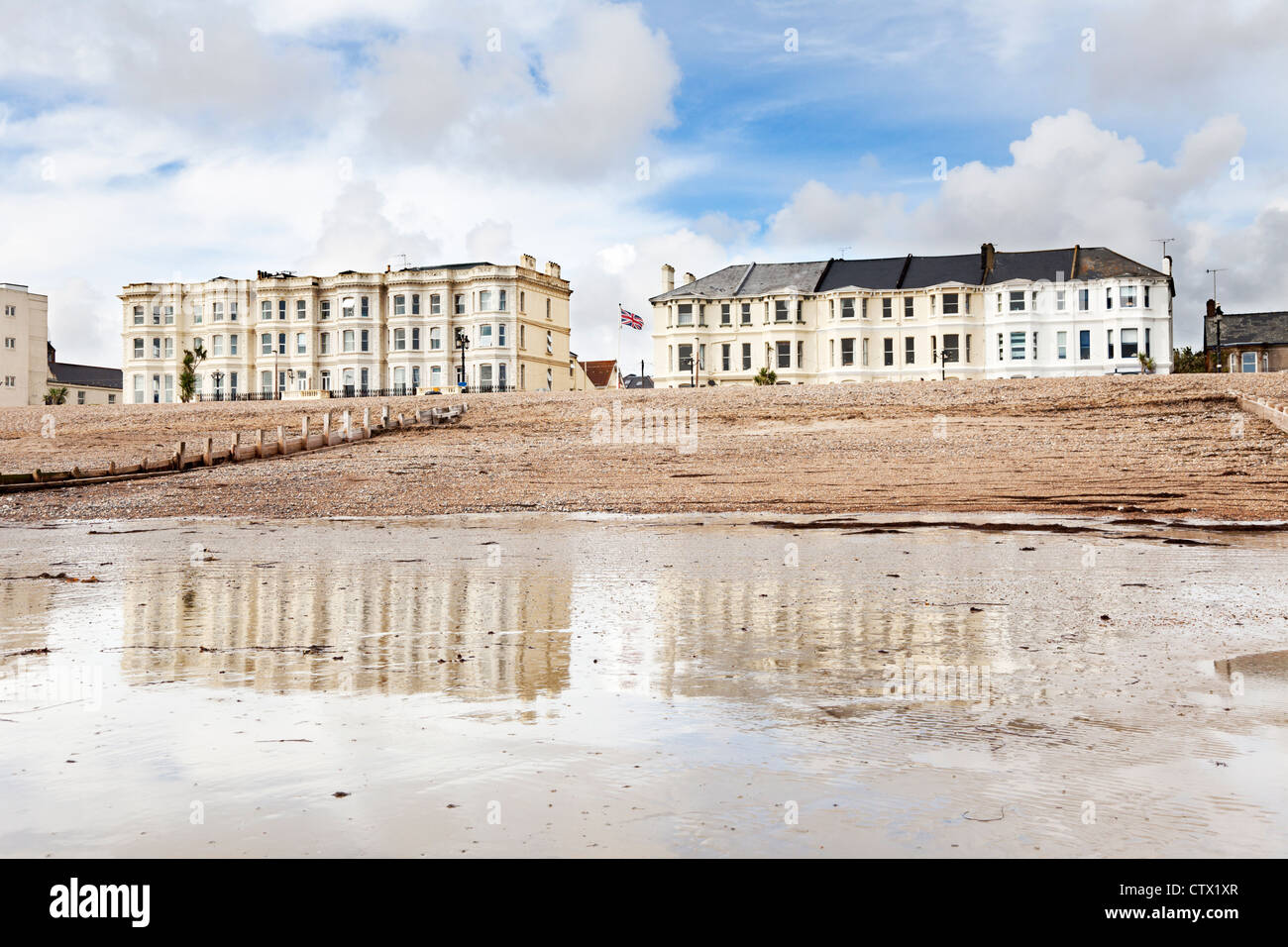 Aging sea view rooms on the Worthing front - Stock Image