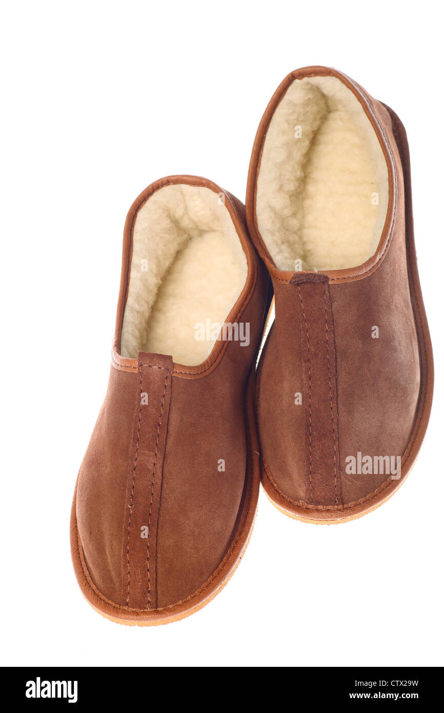 04fa8c75def isolated brown wool comfortable slippers Stock Photo  49745077 - Alamy