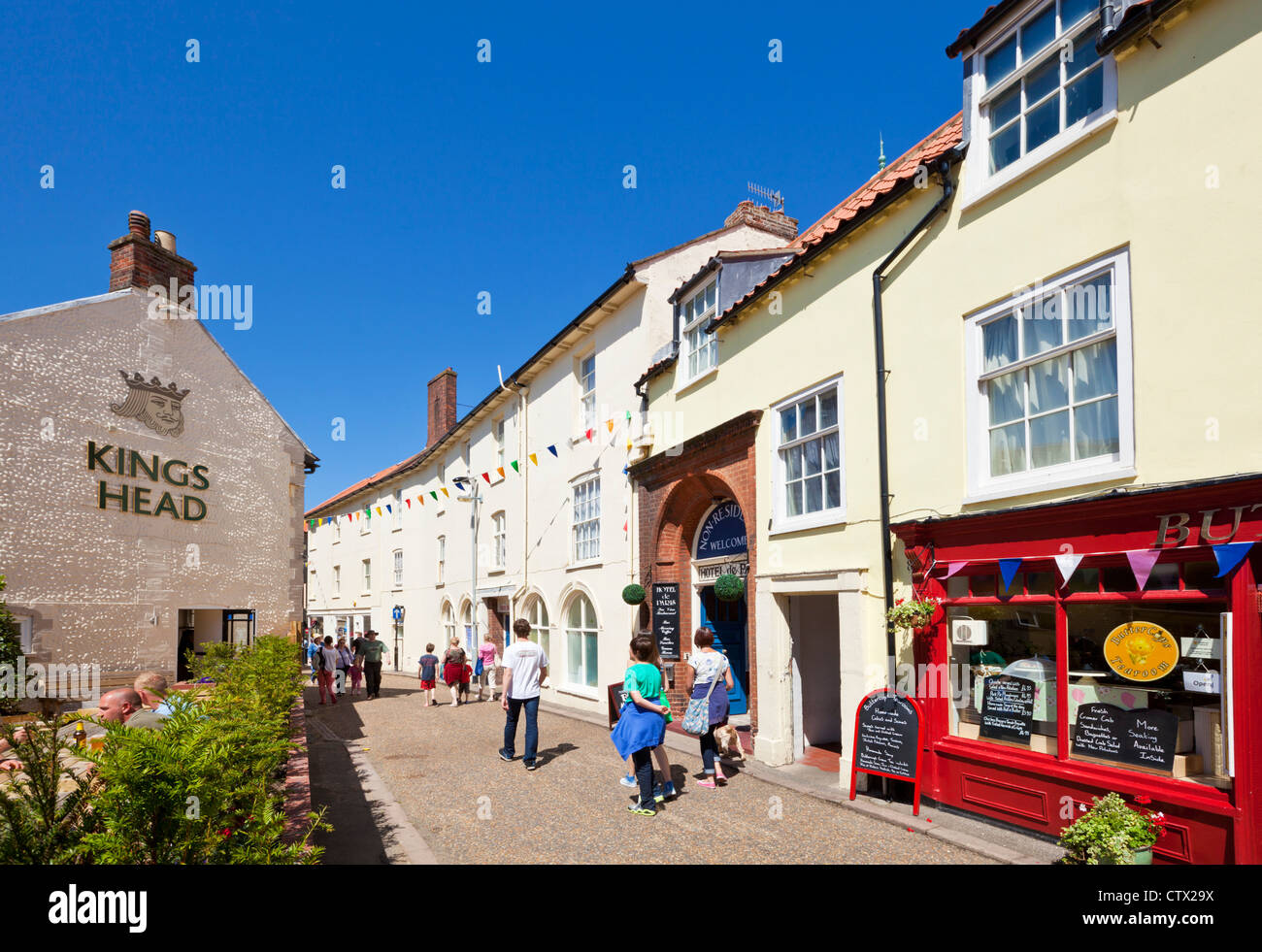 Cromer town centre shops Norfolk England UK GB EU Europe - Stock Image
