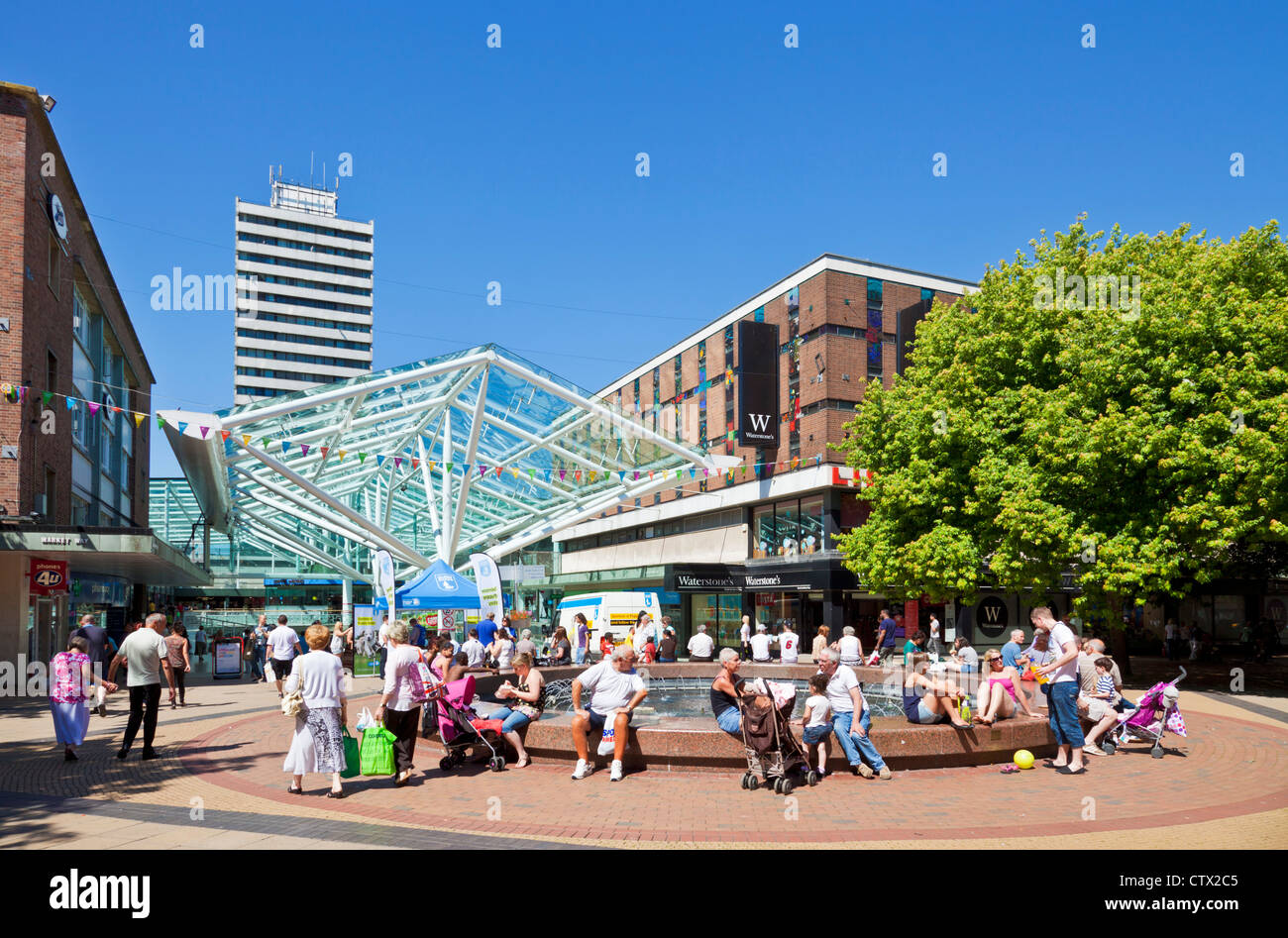 Lower Precinct Shopping Centre Coventry Warwickshire England UK GB EU Europe - Stock Image