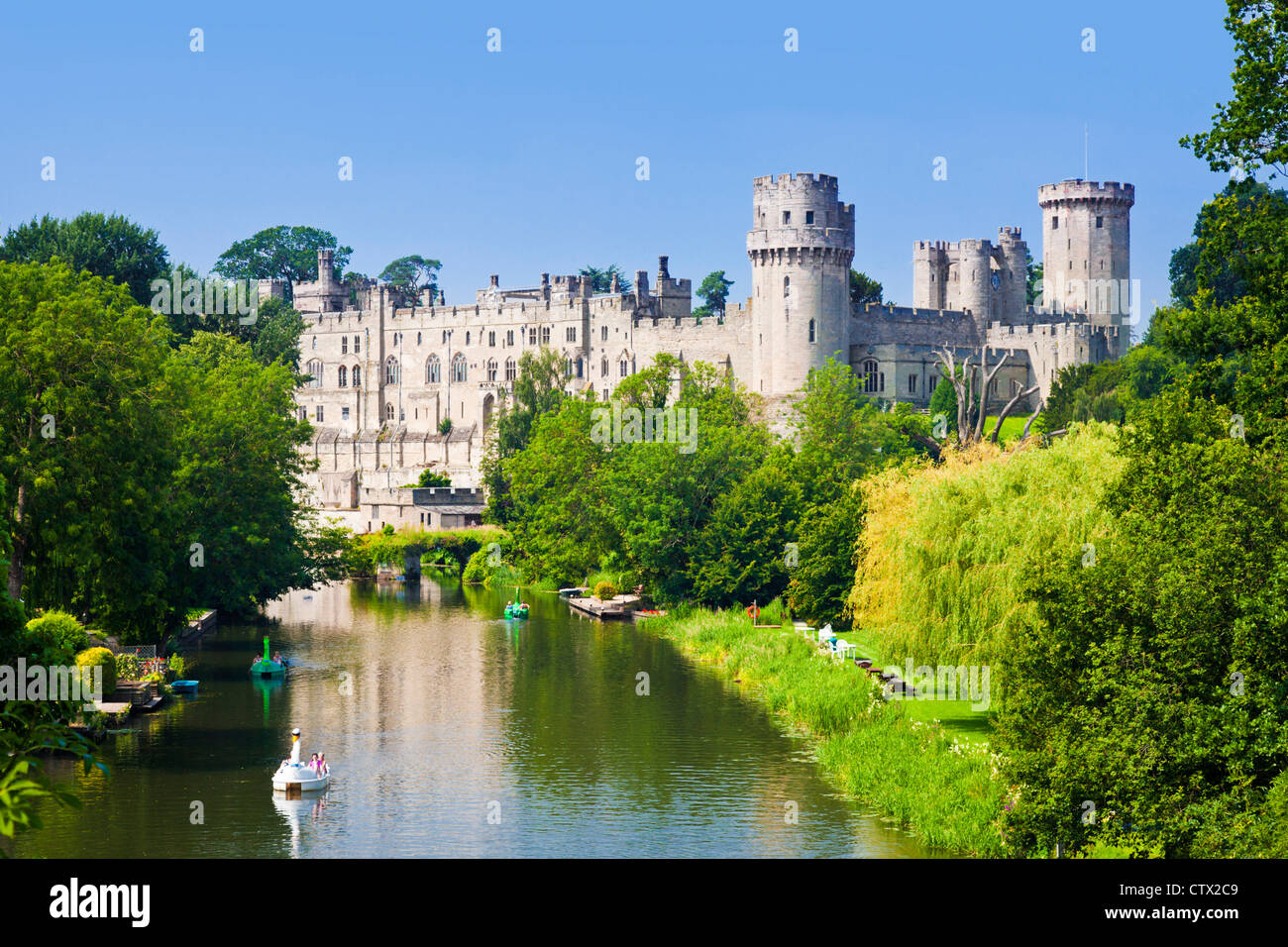 Warwick Castle and River Avon Warwick Warwickshire, England UK GB EU Europe - Stock Image