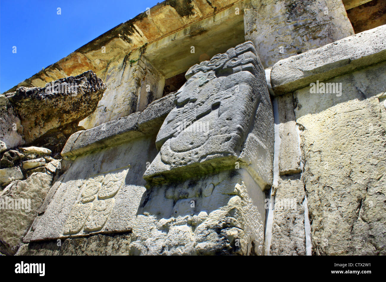 Palenque mayan monument Chiapas Mexico. Frieze of person. - Stock Image