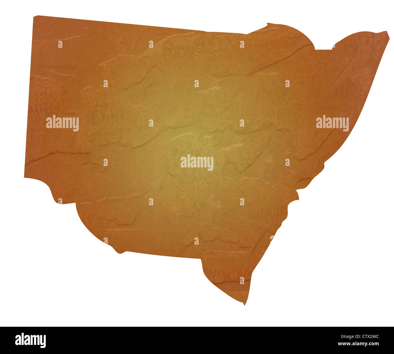 New South Wales, Australia map with brown rock or stone texture, isolated on white background with clipping path. - Stock Image