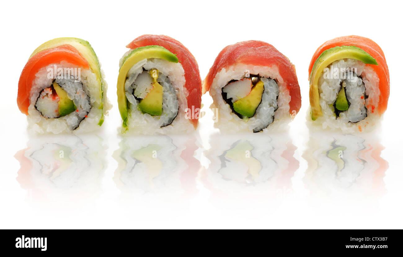 Sushi Rolls ,Close Up On White Background - Stock Image