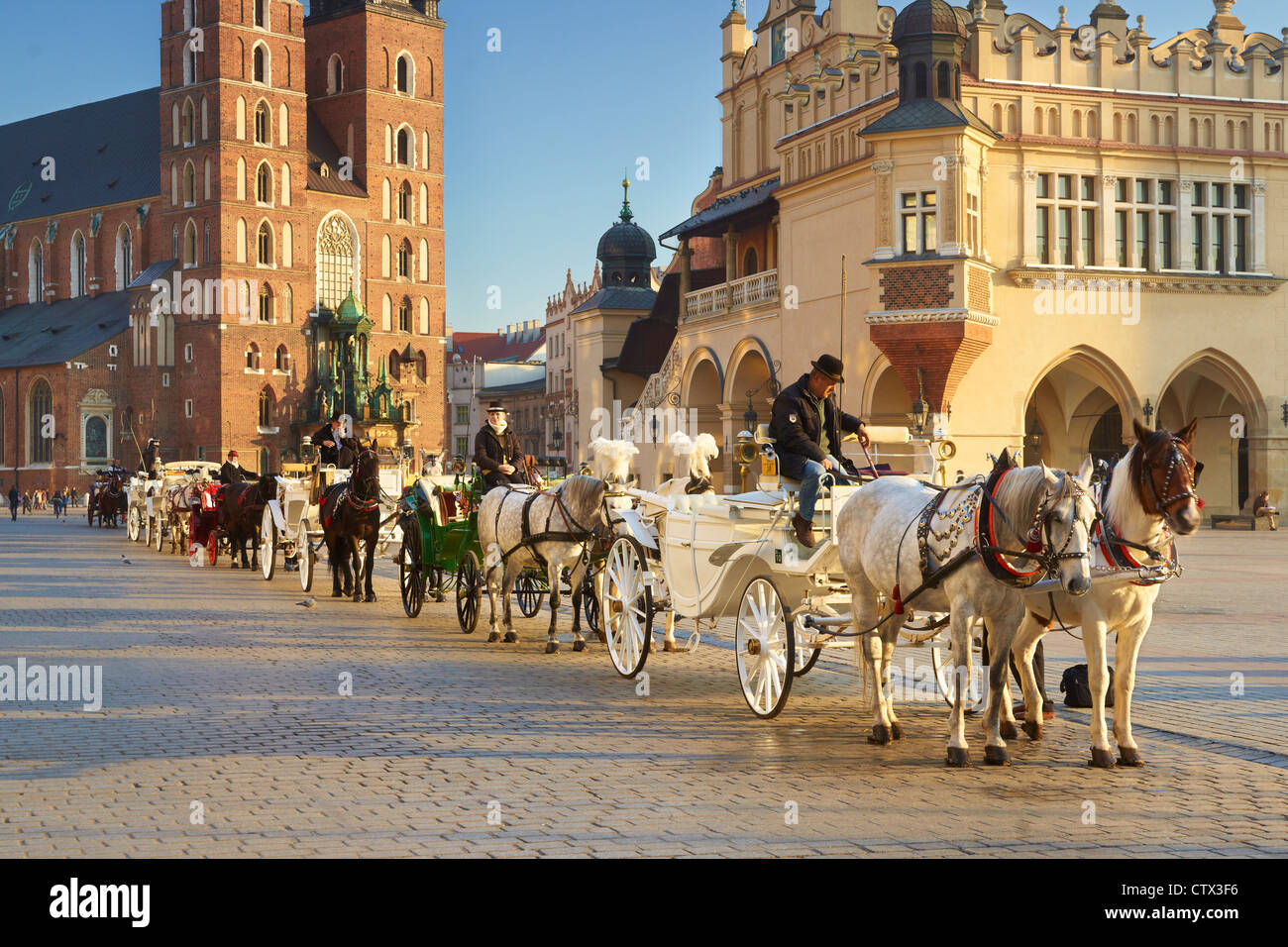 Carriage waiting for tourists, Cracow, Poland, UNESCO - Stock Image