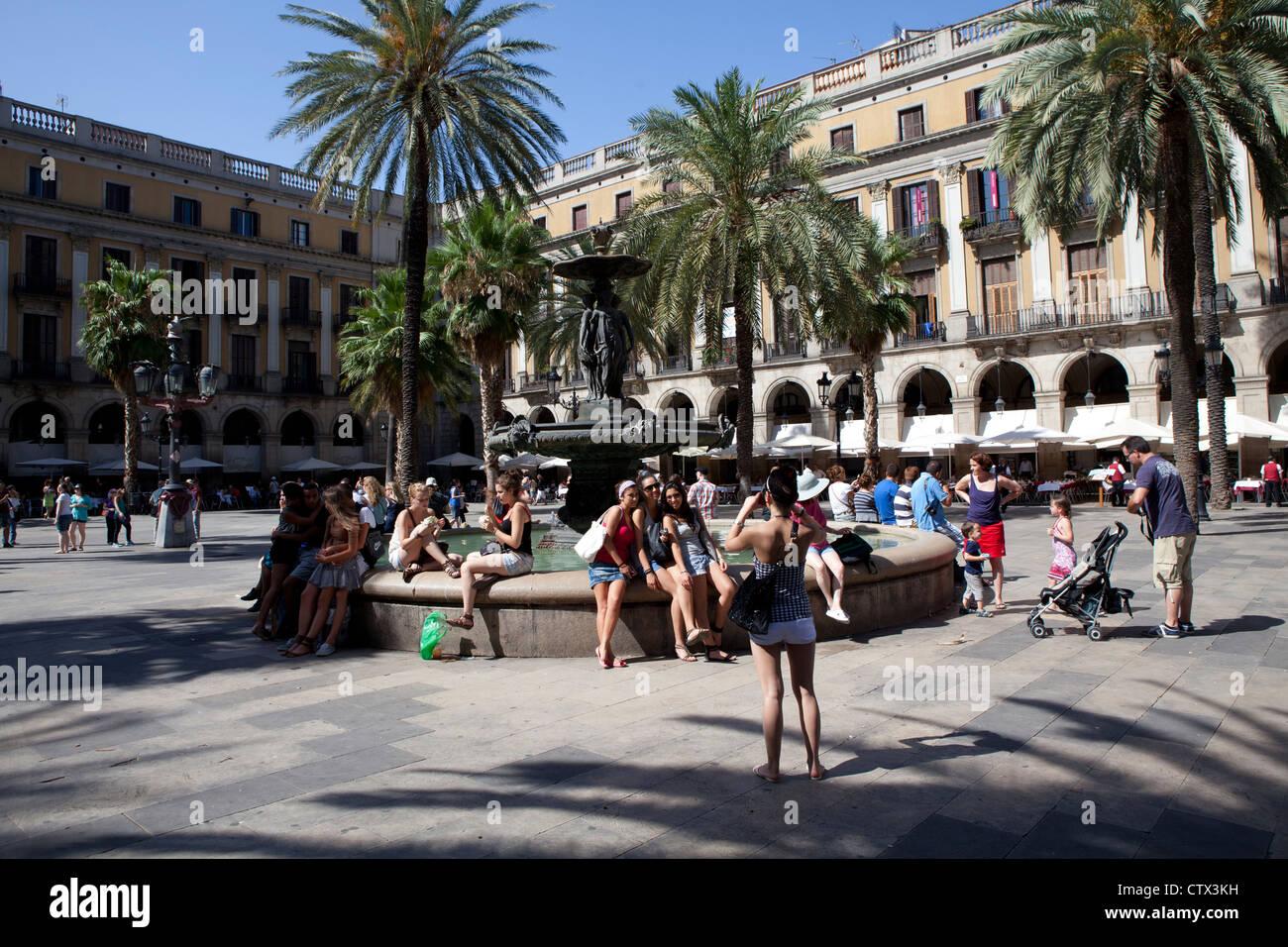 Placa Reial Barcelona Spain - Stock Image