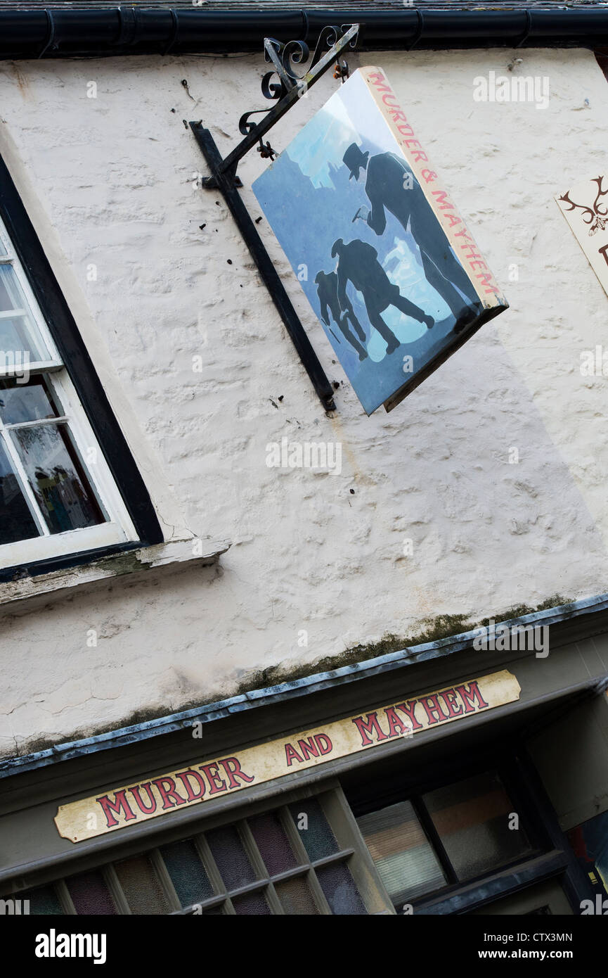 Murder and Mayhem Secondhand bookshop. Hay on Wye, Powys, Wales. - Stock Image