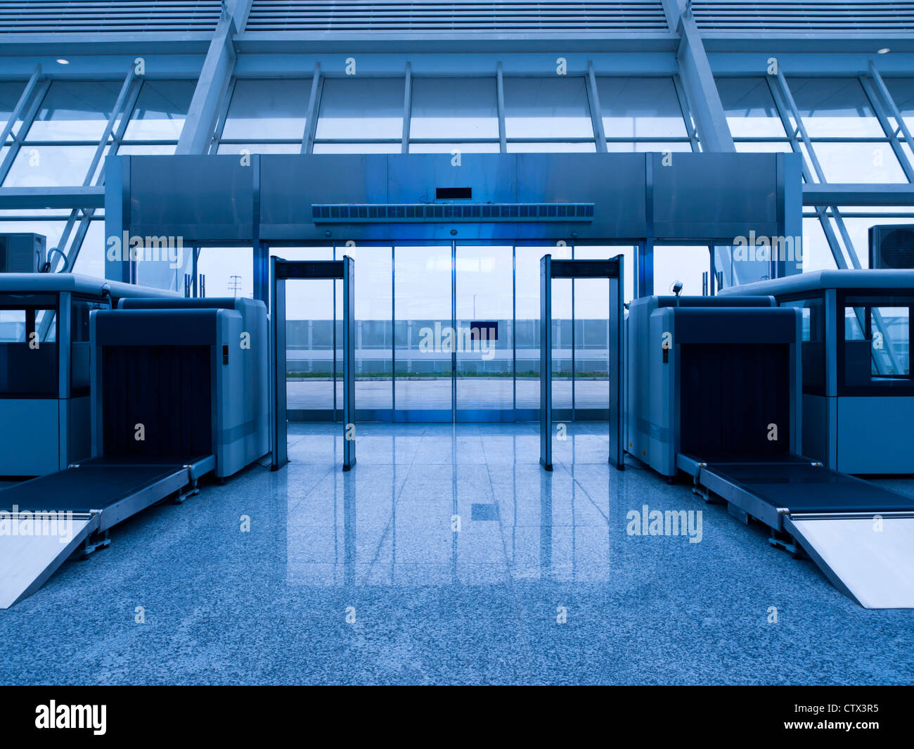 Security check equipment at station. - Stock Image