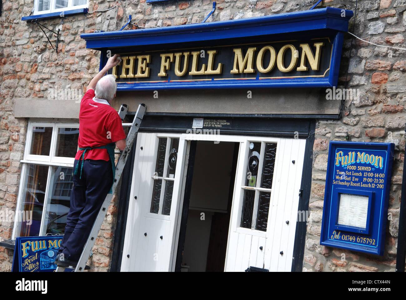 the Full Moon pub Wells Somerset UK - Stock Image