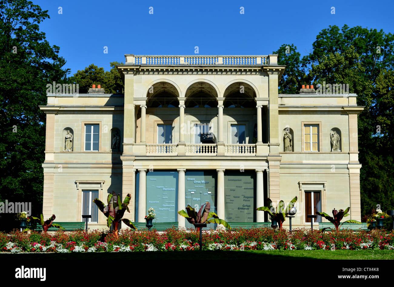 Villa Bartholoni, housing the Museum of the History of Science, park La Perle du Lac, Geneva, Switzerland - Stock Image