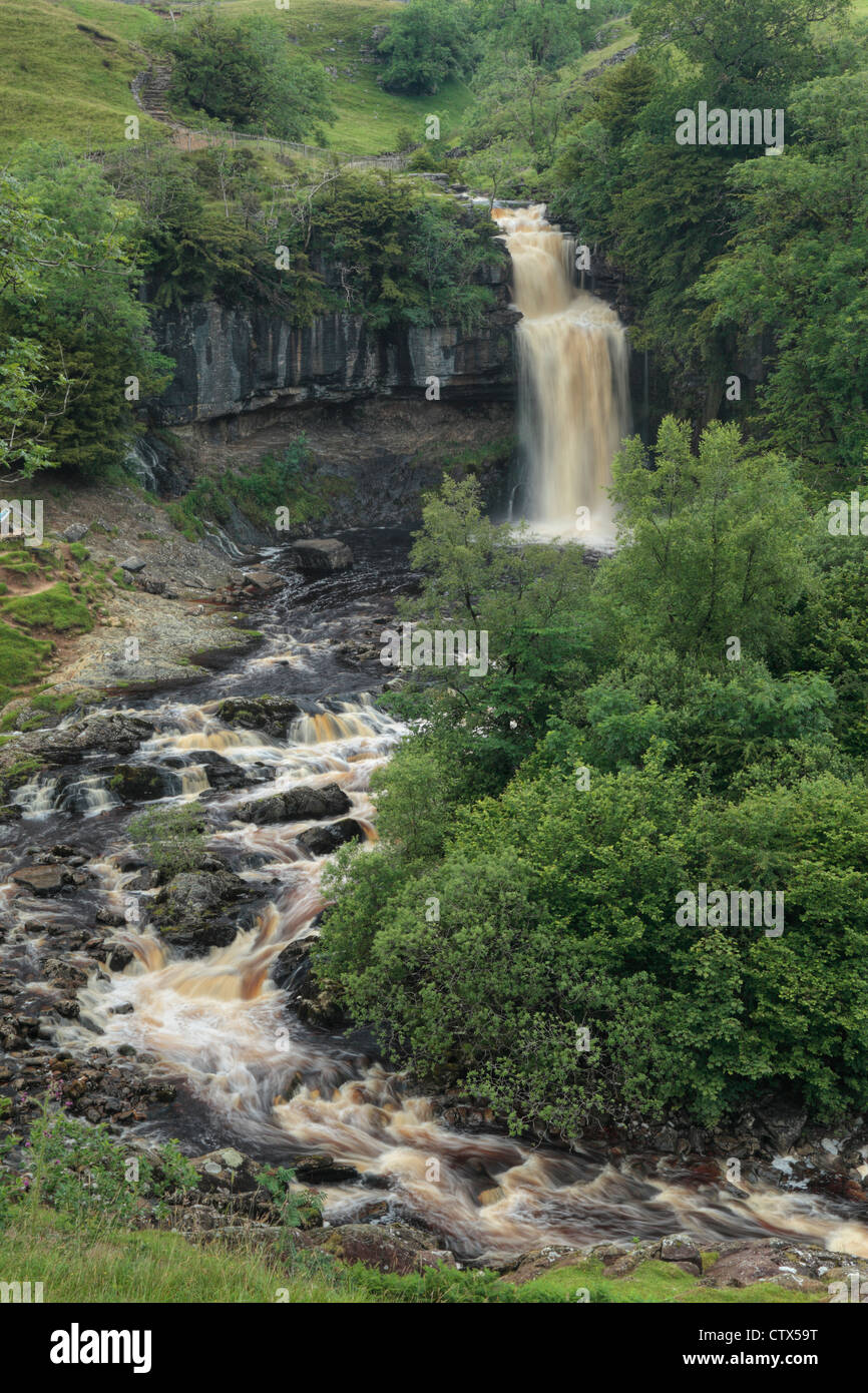 Thornton Force on the River Twiss in summer near Ingleton in the Yorkshire Dales of England - Stock Image