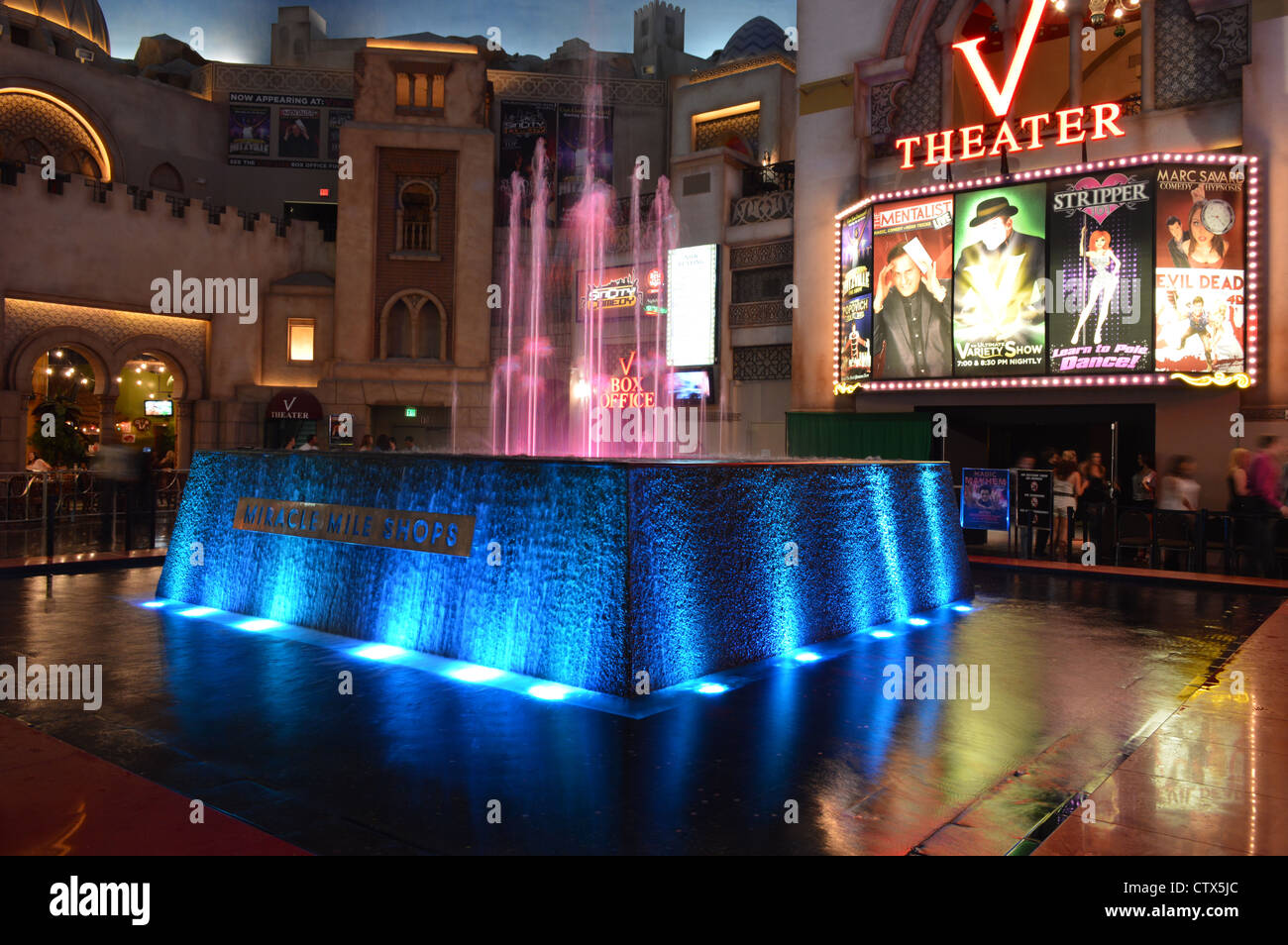 The Miracle Mile shopping mall on Las Vegas Strip Stock
