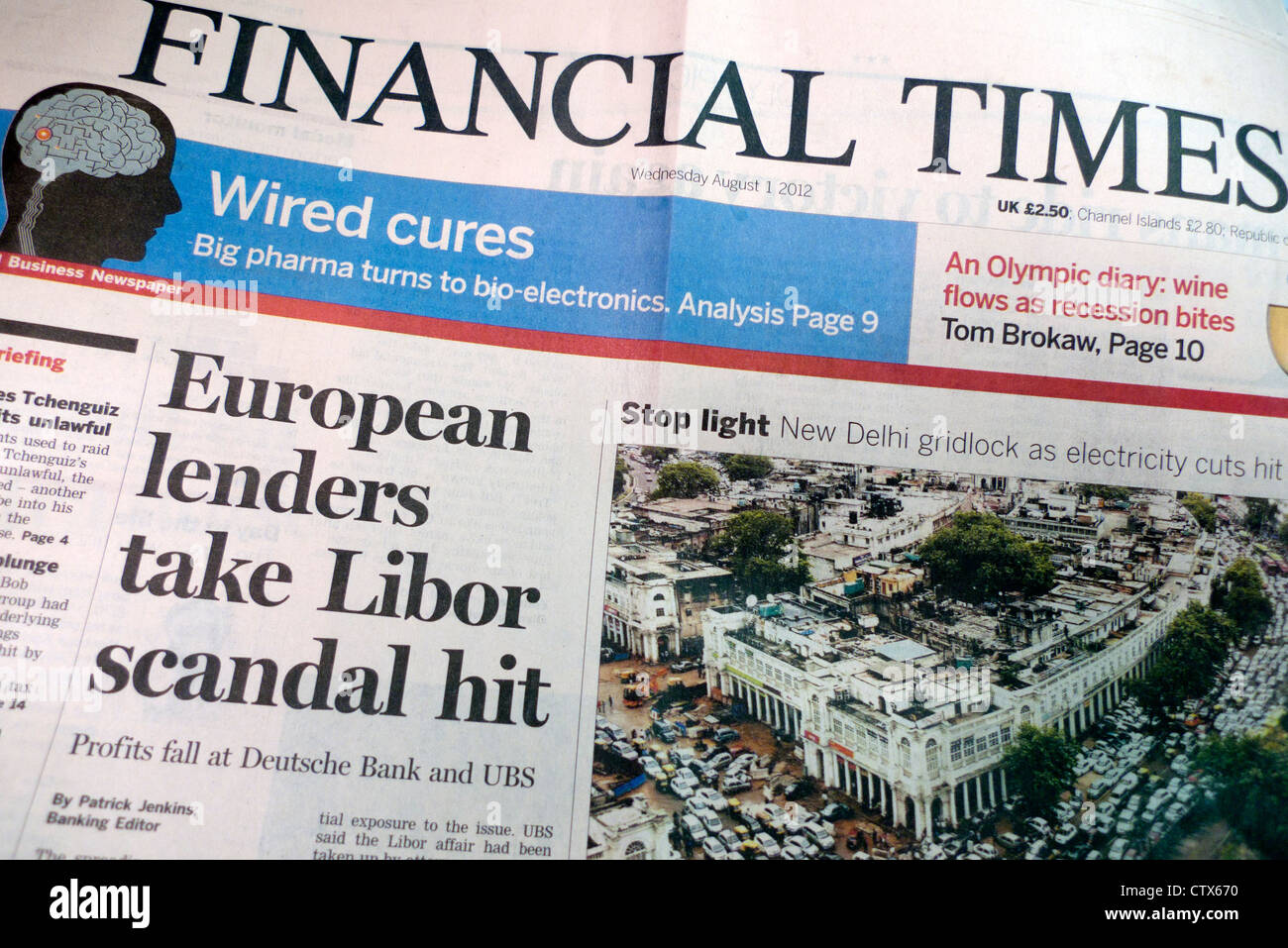 Libor scandal headlines The Financial Times newspaper London August 2012 - Stock Image