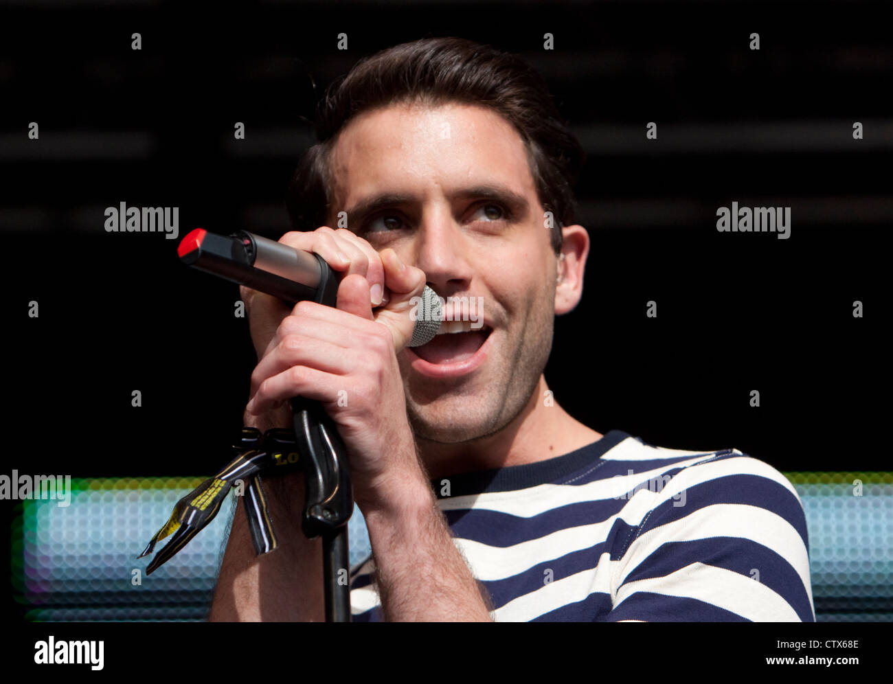Mika on stage at Lovebox festival, Victoria Park, London June 2012 - Stock Image