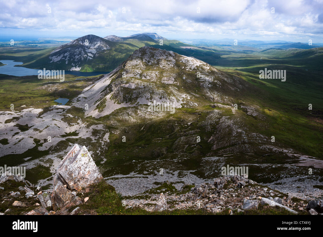View from the summit of Mount Errigal in the range of Derryveagh Mountains in Glenveagh national park, Donegal, - Stock Image