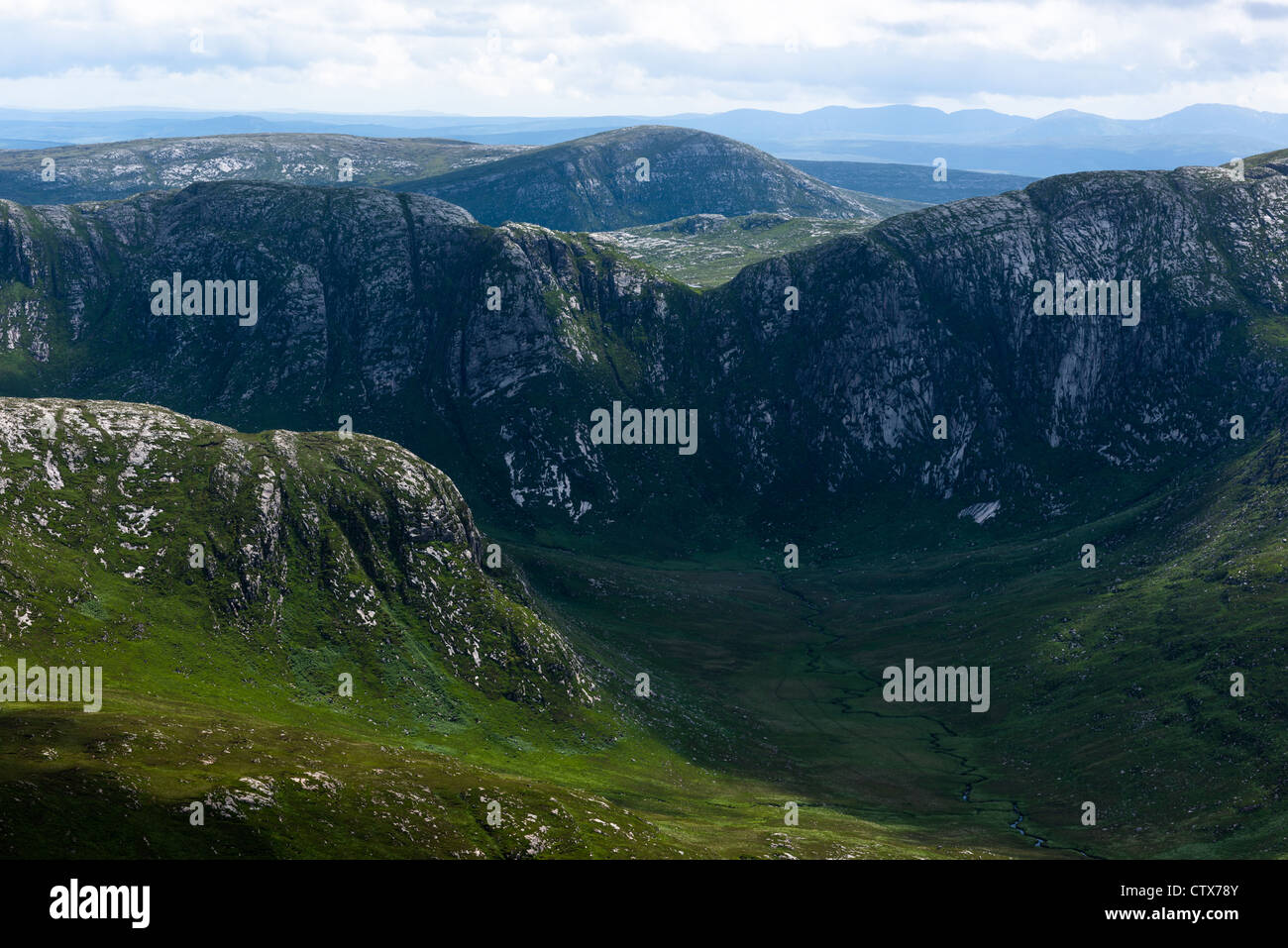 View from Mount Errigal of poison glen and Derryveagh Mountains in Glenveagh national park, Donegal, Ireland. - Stock Image