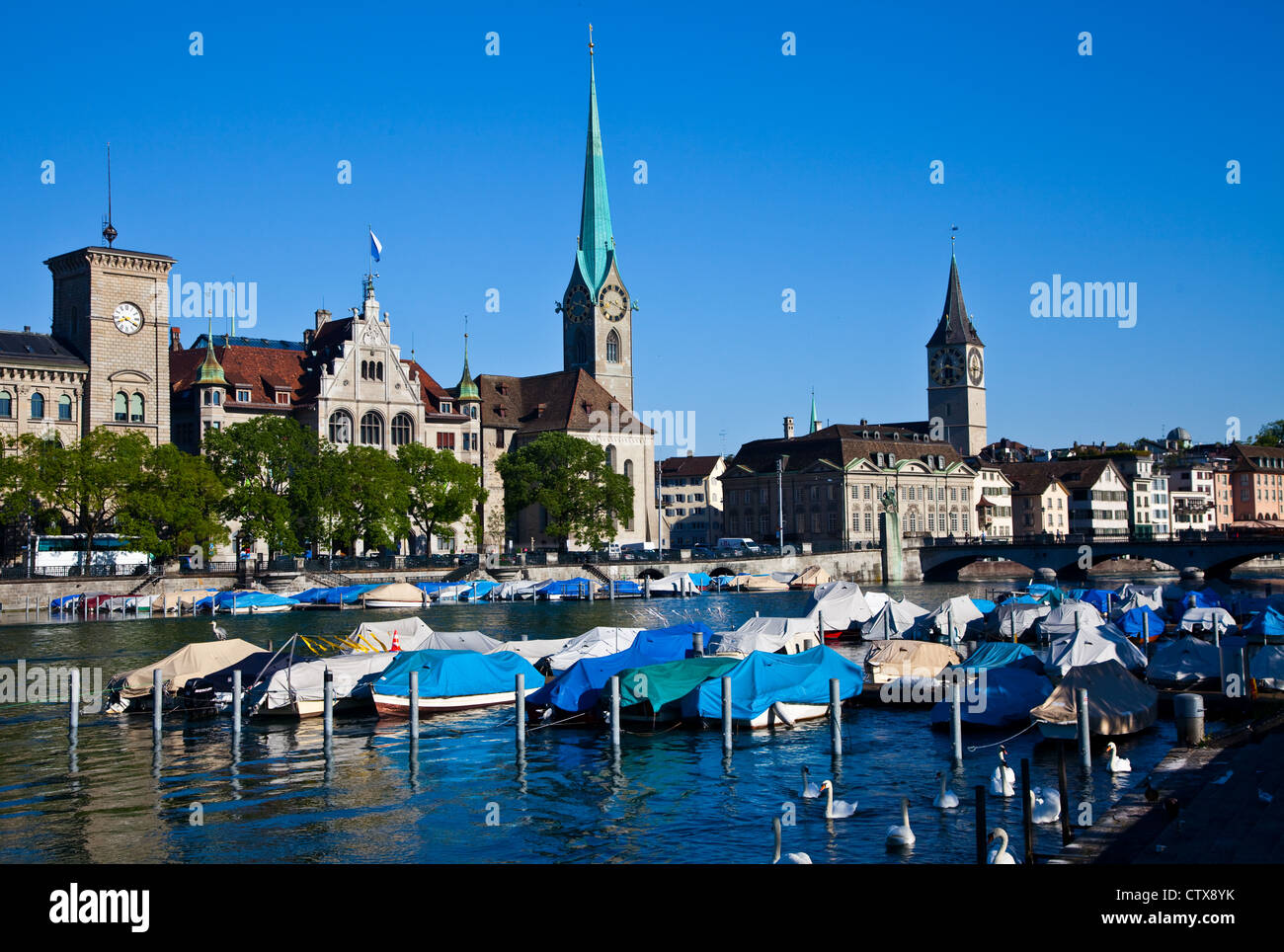 A view of Zurich across the Limmat river, Switzerland - Stock Image