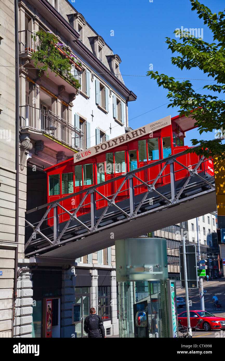 The Polybahn tram connecting lower Zurich to the Polytechnic College Stock Photo