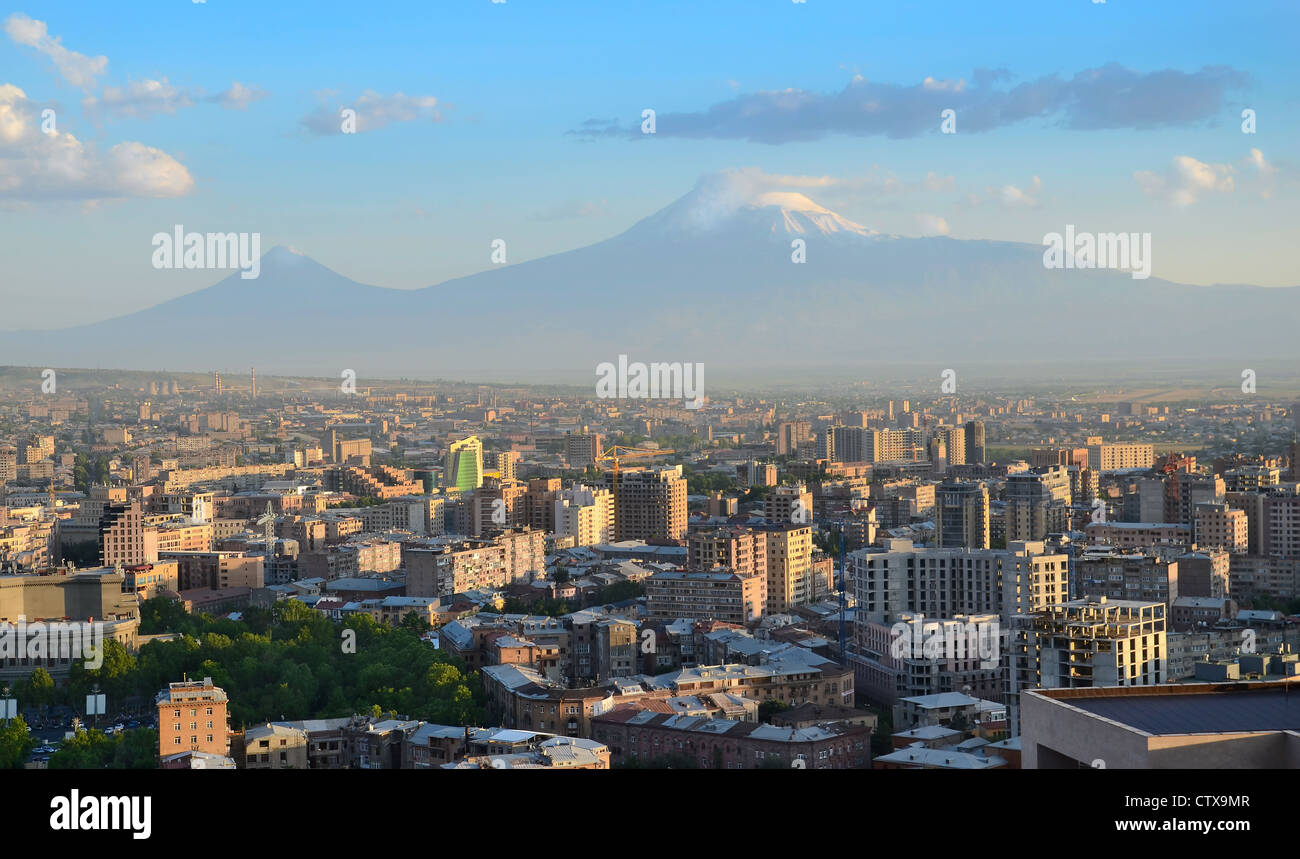 Armenia. City view of Yerevan and Ararat mountain. Stock Photo