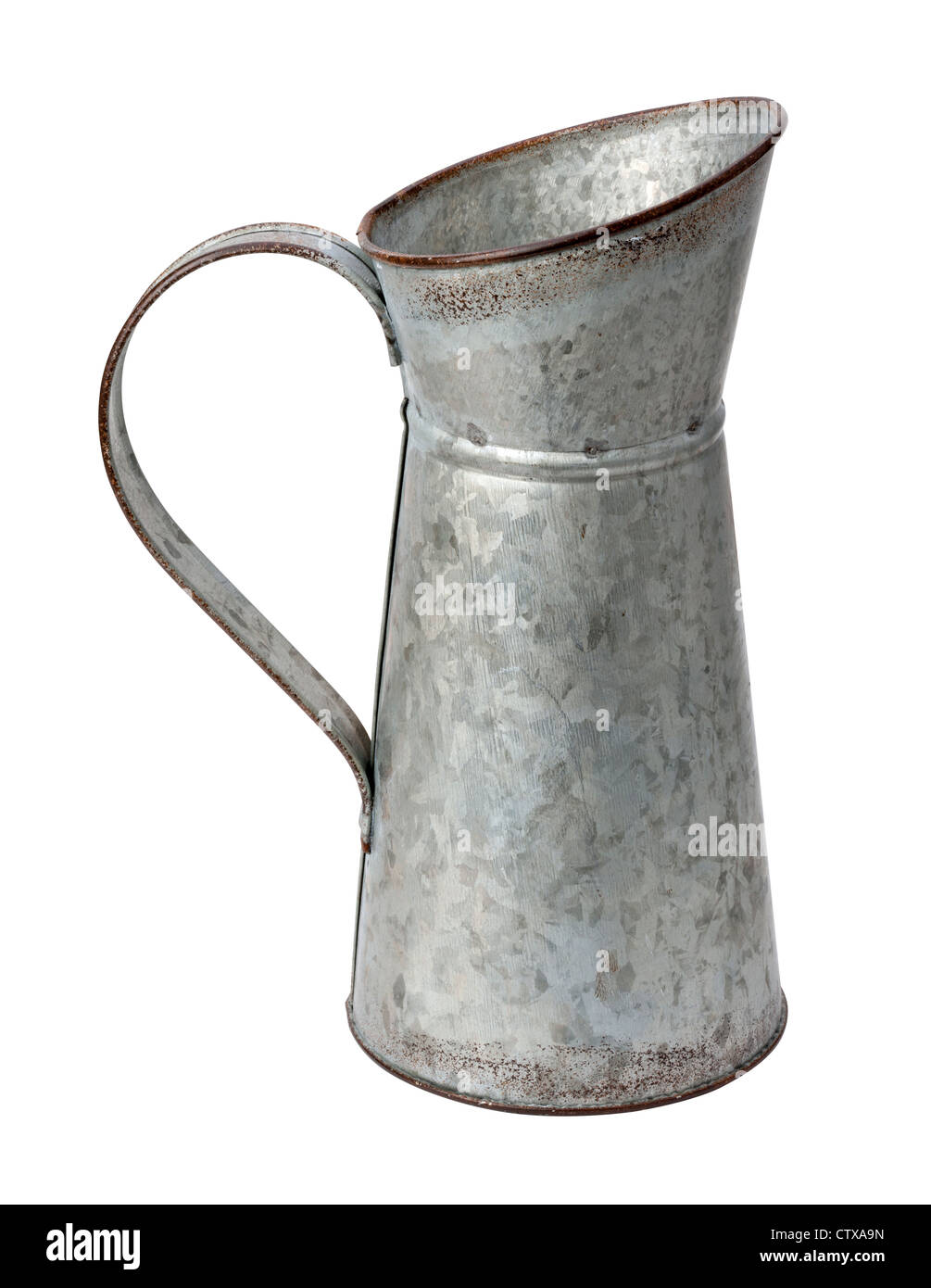 Galvanized Pitcher Isolated on a white background. - Stock Image