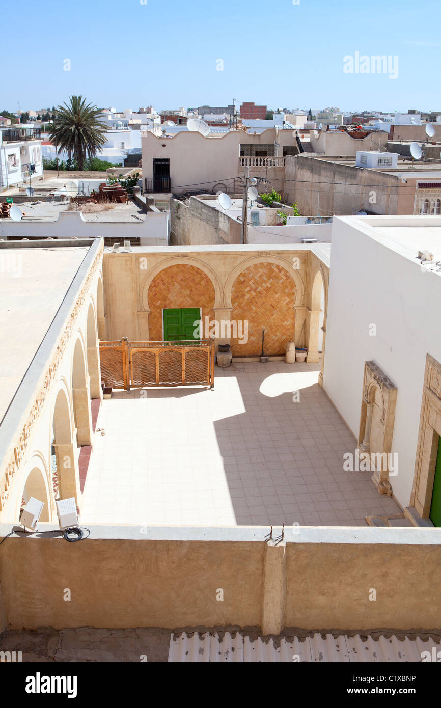 Inner Opened Courtyard Of Arabic Tunisian Mosque In Small Town, On Circa  May, 2012 In Tunisia.
