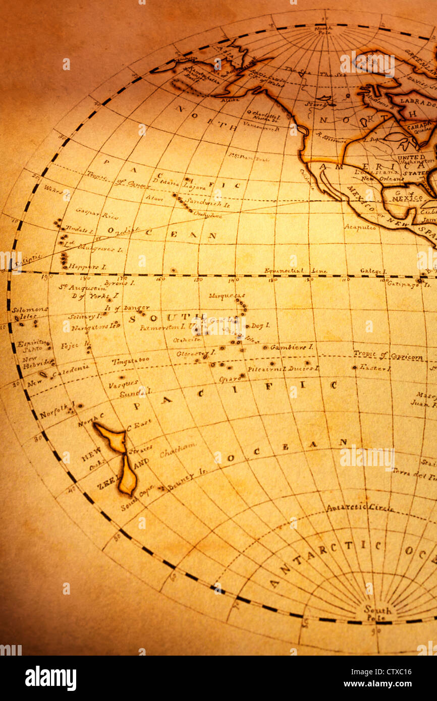 South pacific ocean map stock photos south pacific ocean map stock part of old world map showing south pacific ocean and new zealand focus is gumiabroncs Image collections