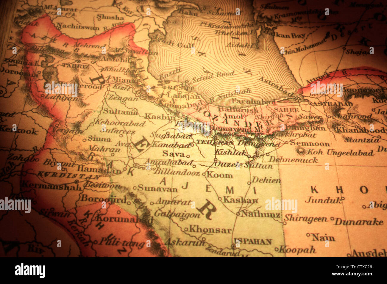 Old map of Iran/Persia, centered on Teheran. Map is from 1855 and ...