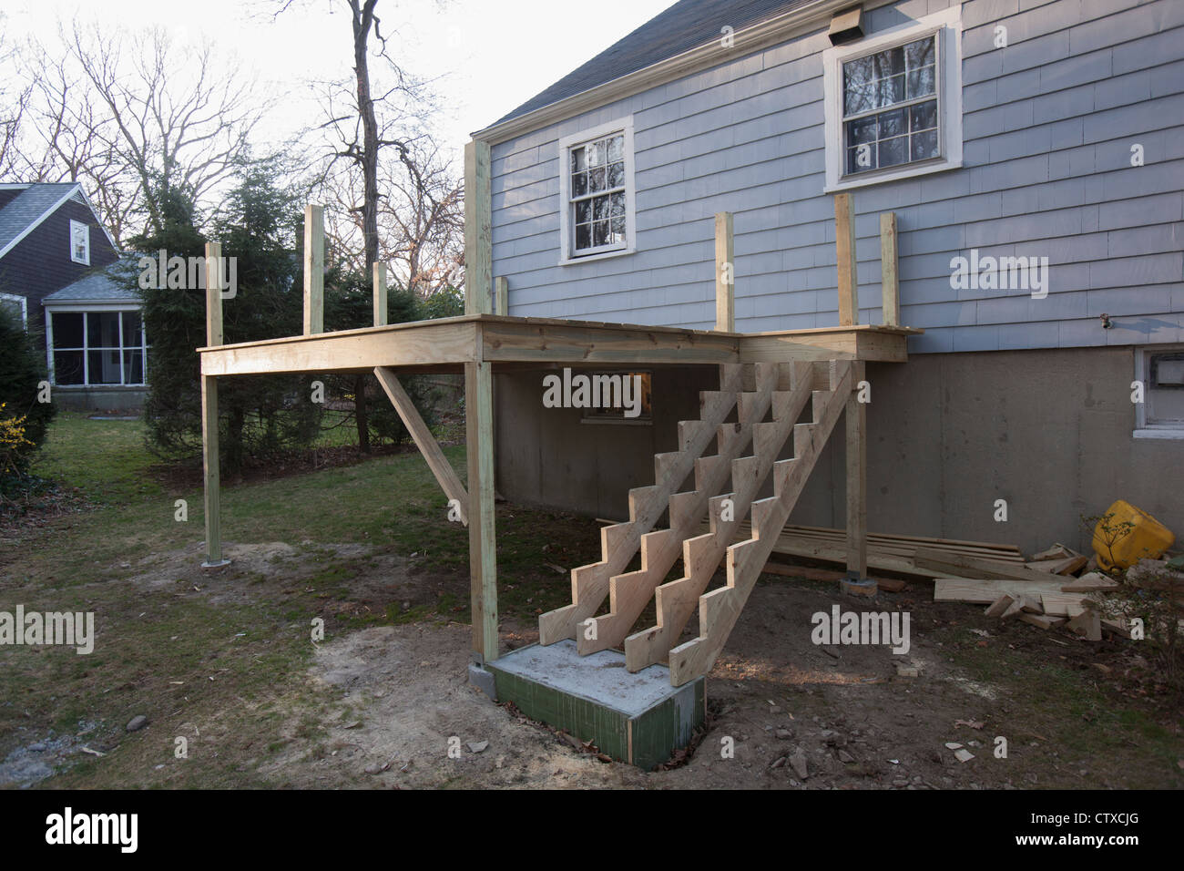 Stair stringers installed on new deck without treads Stock Photo