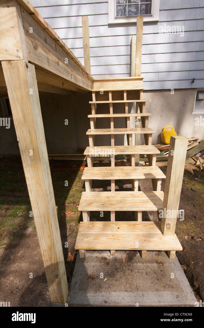 Deck Stairway Construction At Homesite