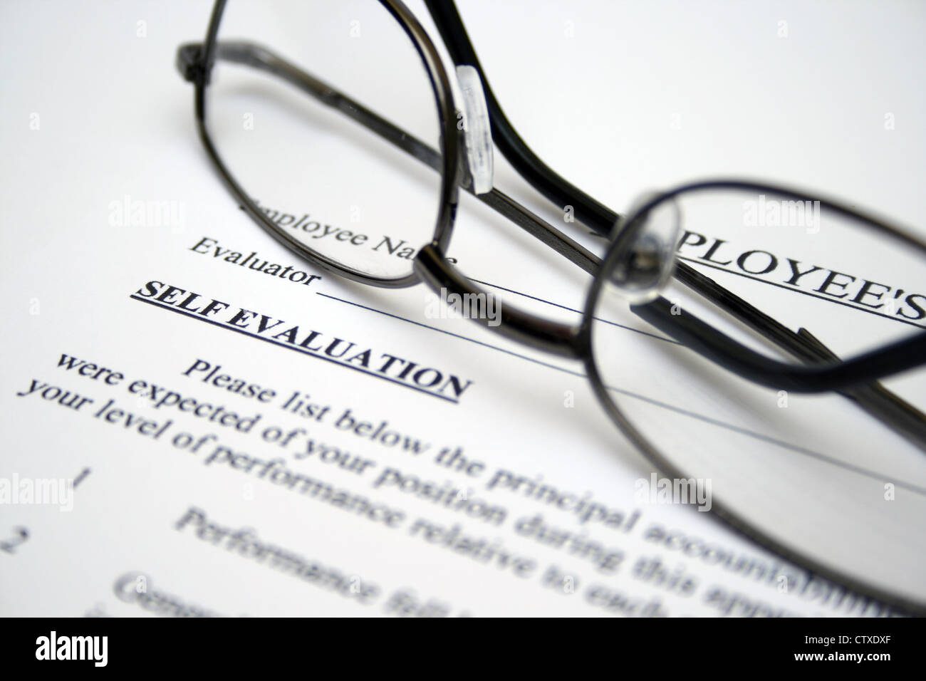 Employee Performance Evaluation Form Stock Photos & Employee ...