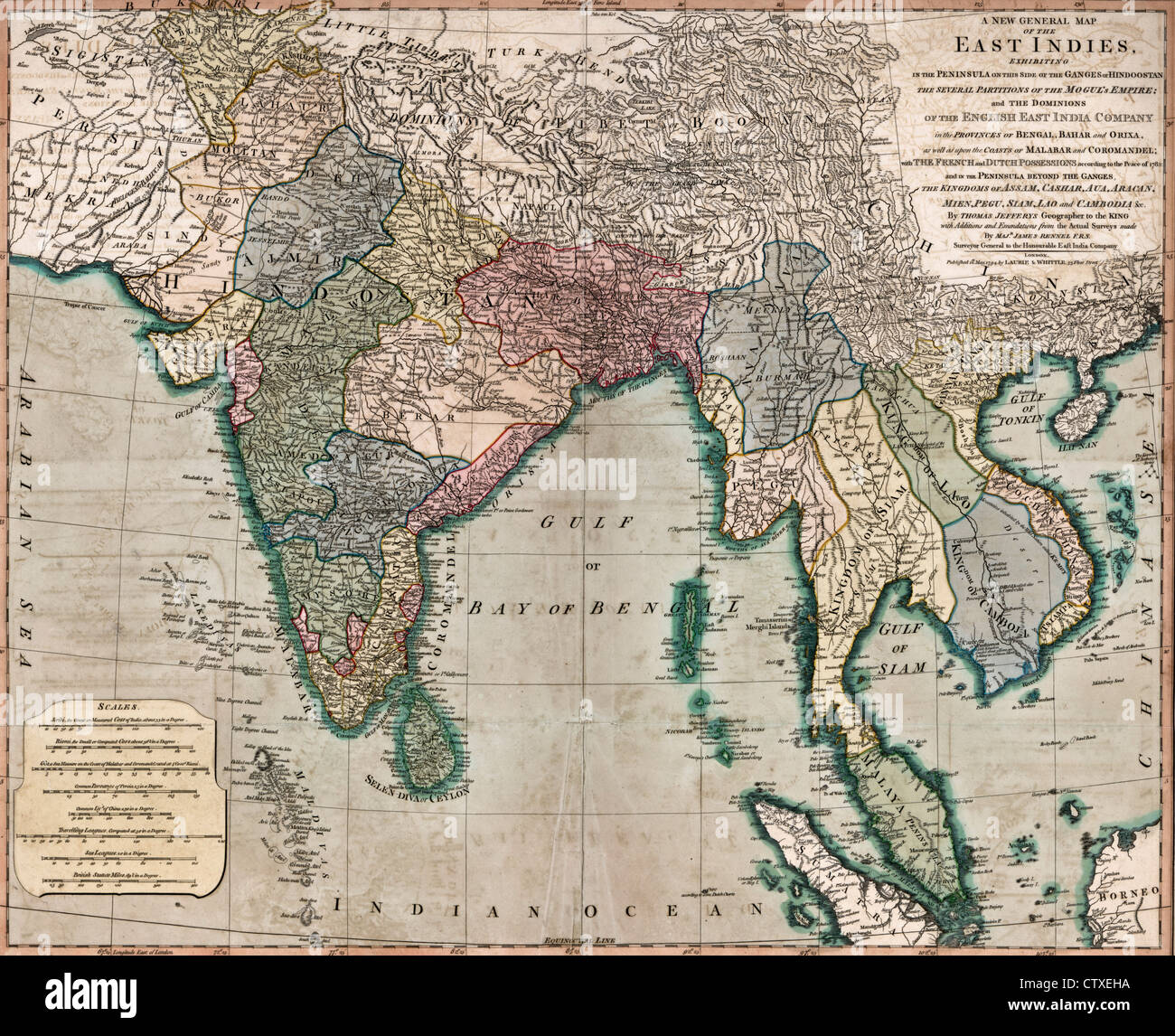 A general map of the East Indies, circa 1794 - Stock Image