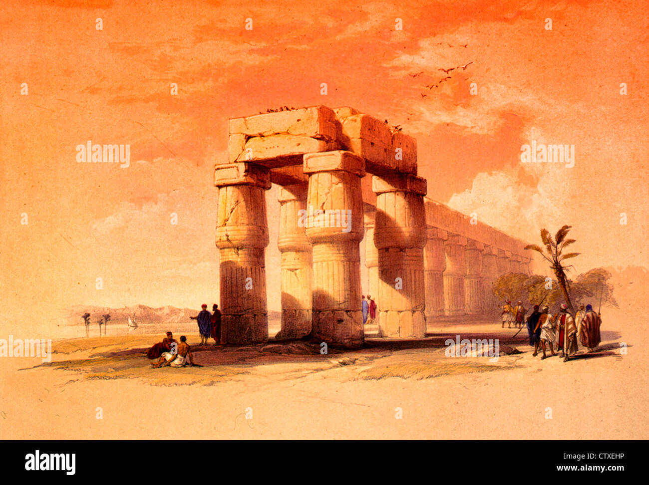 At Luxor, Thebes, Upper Egypt, circa 1847 - Stock Image