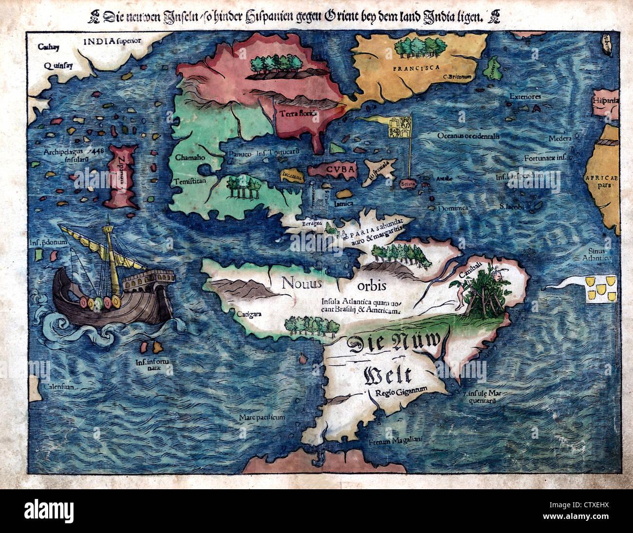 Map of the New World, circa 1550 - Die neuen Inseln, so hinder Hispanien gegen Orient bey dem land India ligen - Stock Image