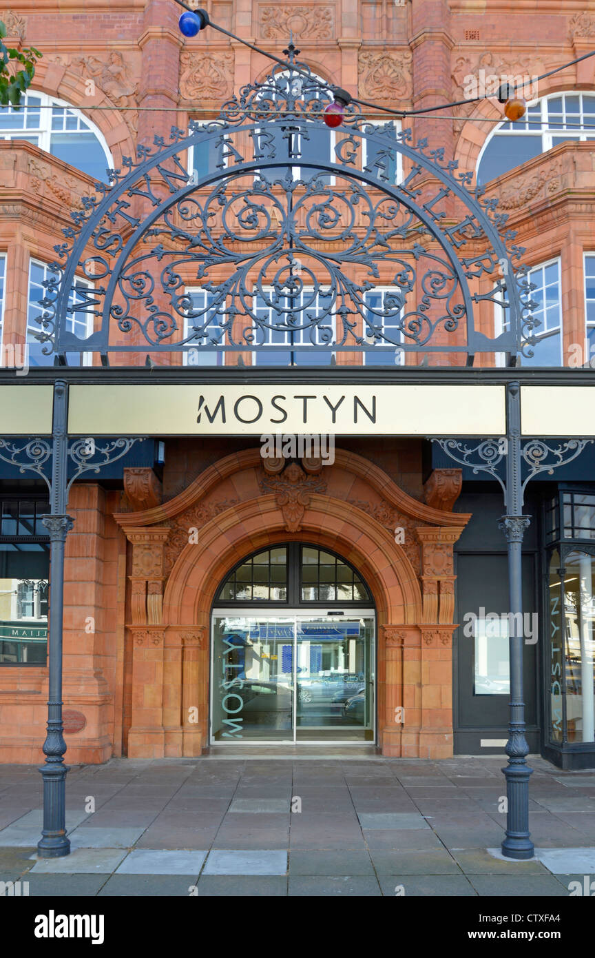 Oriel Mostyn Art Gallery entrance with terracotta facade - Stock Image