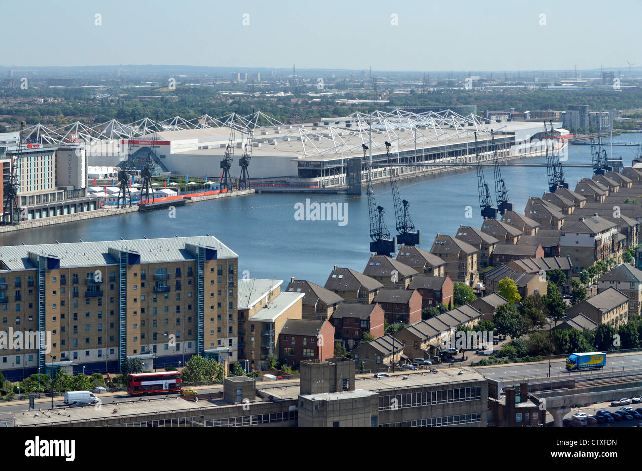 Aerial view of Royal Docks and white Excel centre - Stock Image