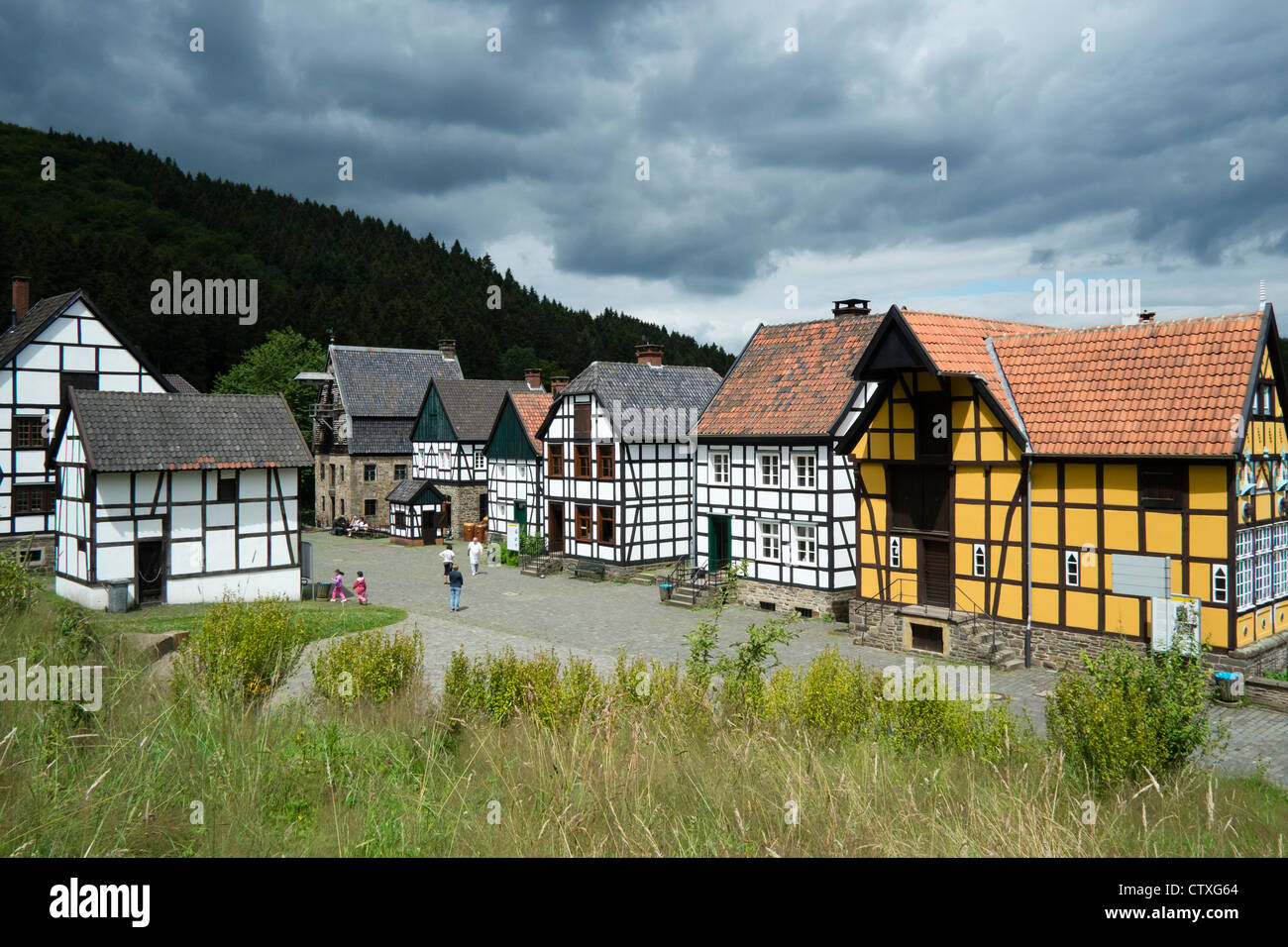 Westphalian open-air museum, or Freilichtmuseum in Hagen, Ruhrgebeit, North Rhine-Westphalia, Germany Stock Photo