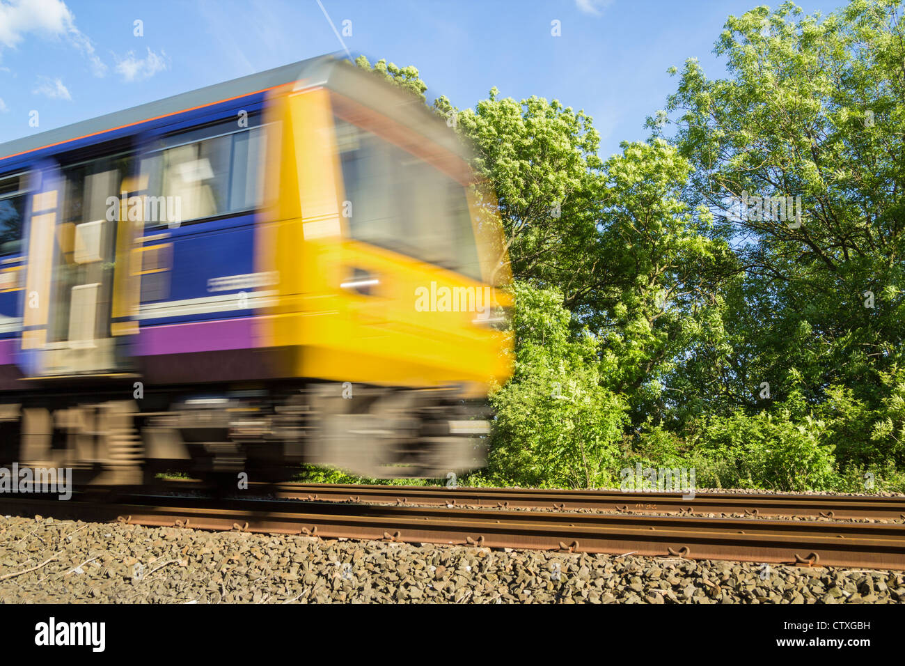 Northern Rail train on the East coast line between Newcastle and Middlesbrough, England, - Stock Image