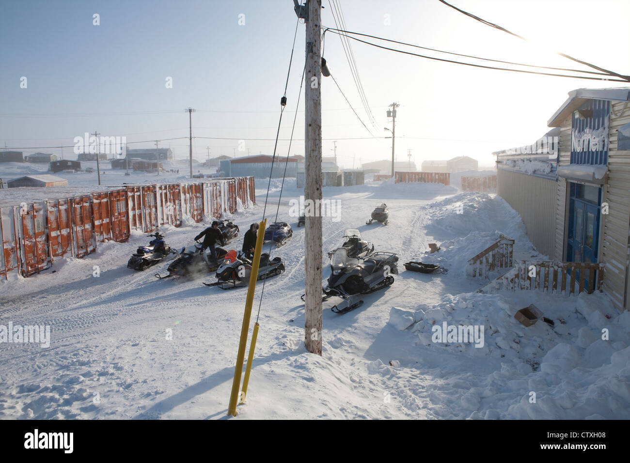snow scooter at the north pole - Stock Image