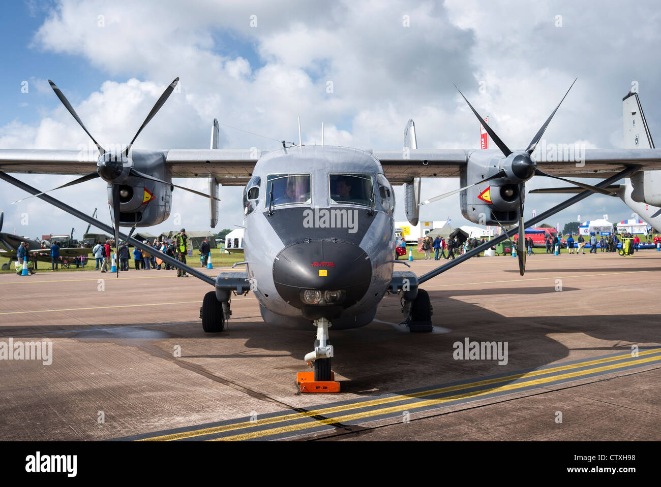 Front view of Antonov An-28 aircraft on static display at RAF Fairford - Stock Image