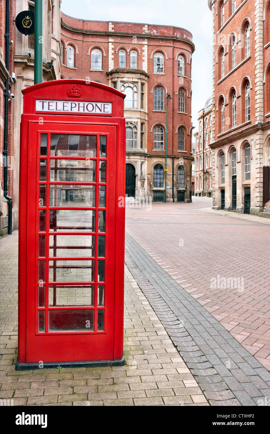 Red telephone box in the Lace Market area of Nottingham city centre UK - Stock Image