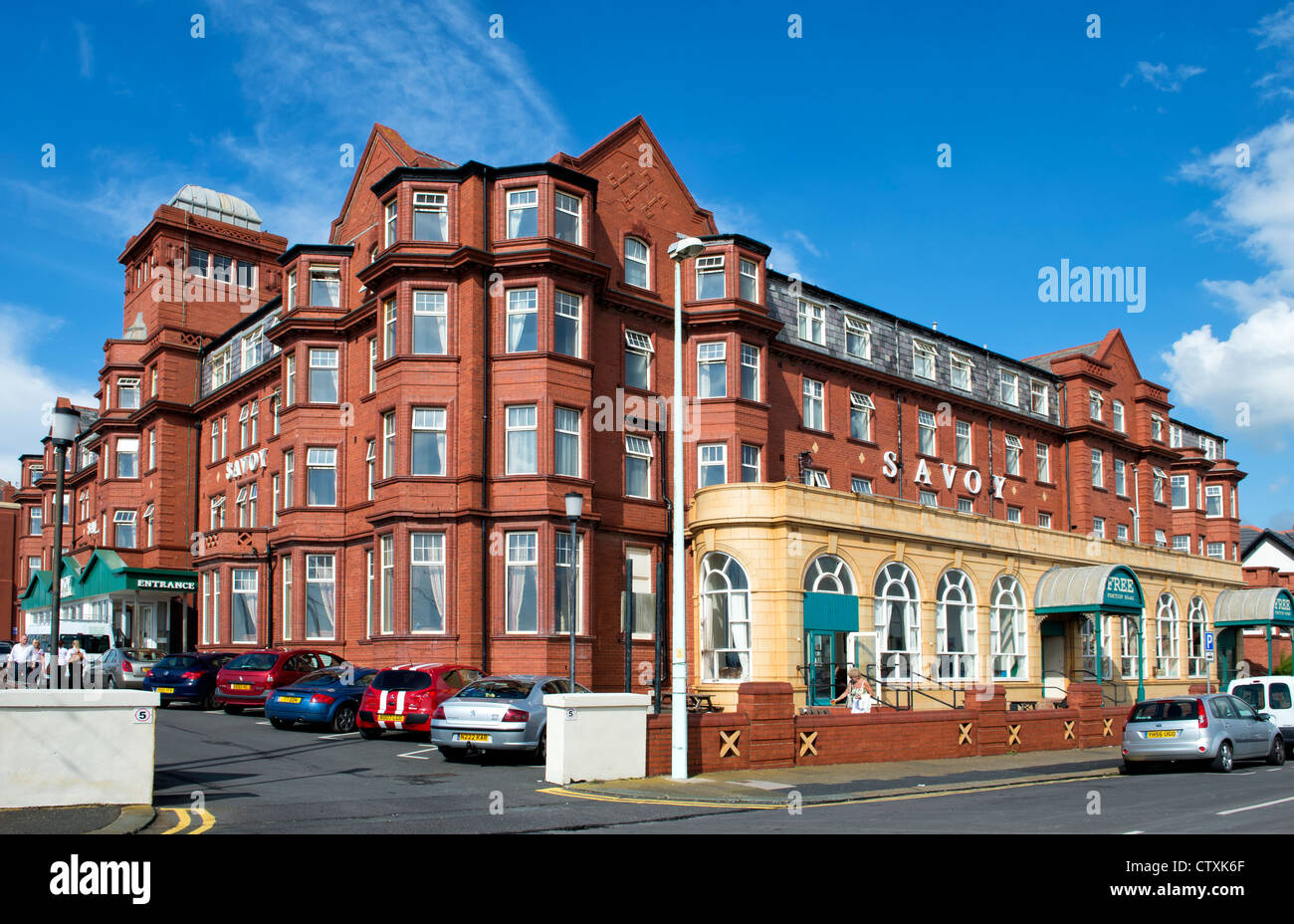Savoy Hotel on the seafront in Blackpool, Lancashire - Stock Image