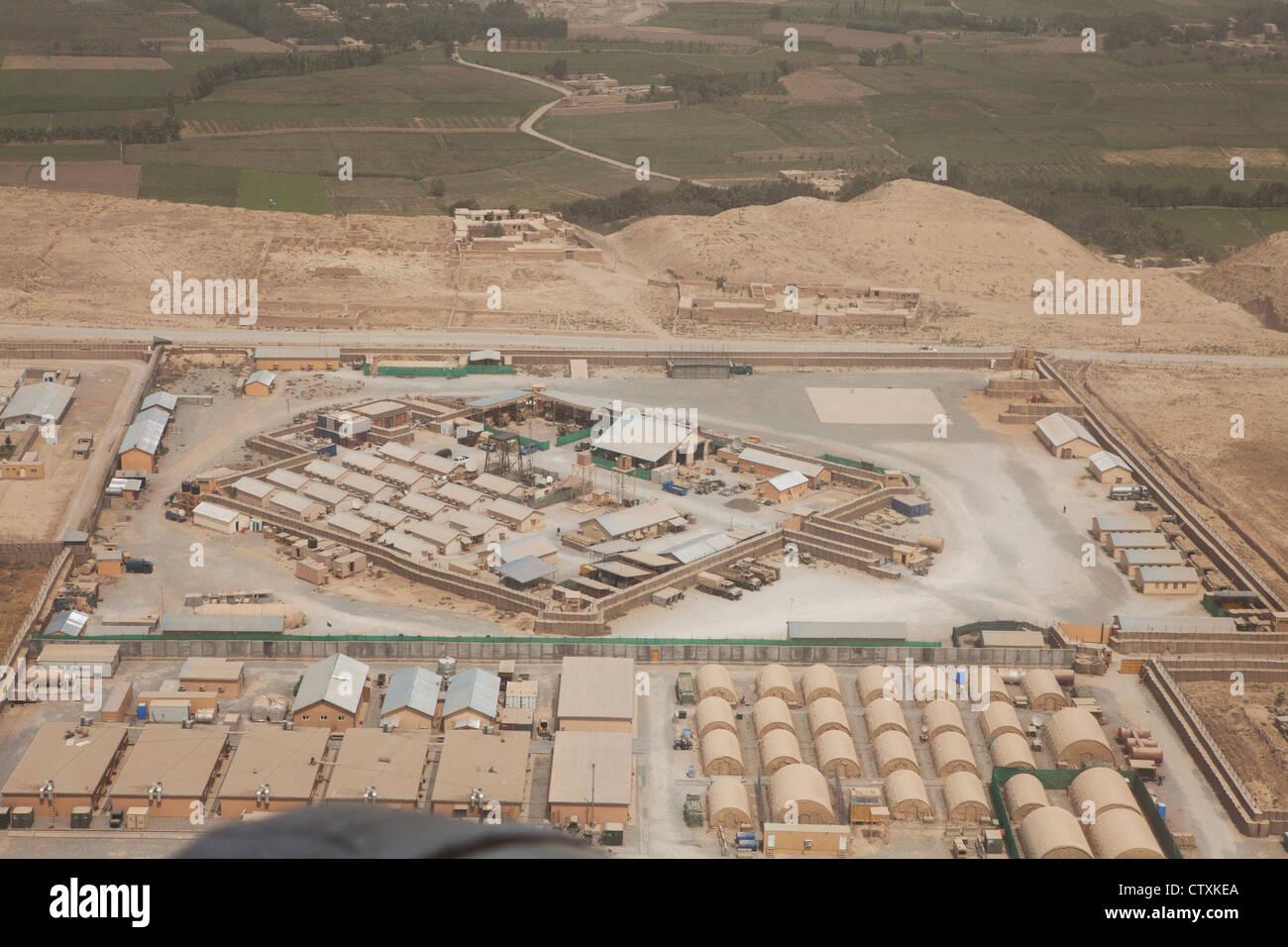 aerial view military base in Kunduz, Afghanistan. - Stock Image