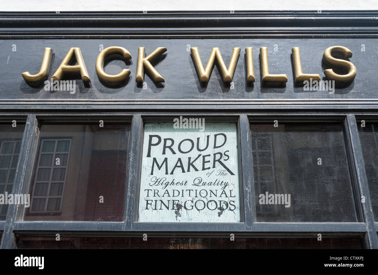 Jack Wills shop sign and logo close up in Richmond Surrey. - Stock Image