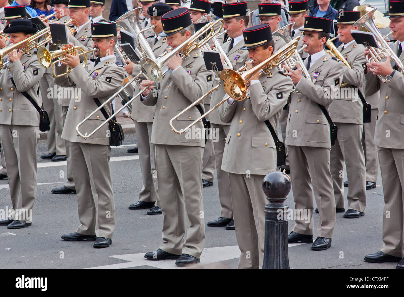 A French military band playing during Bastille Day celebrations in Lille - Stock Image