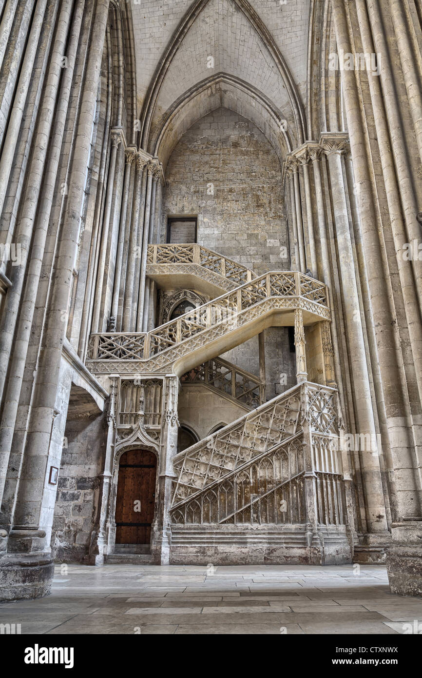 The Booksellers' Staircase (Escalier de la Librairie) in Rouen Cathedral, Normandy, France - Stock Image
